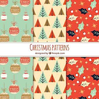 Three nice christmas patterns in vintage style