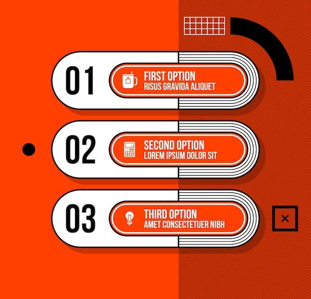 밝은 주황색 배경에 멋진 기하학적 스타일의 세 번호 배너 / 옵션