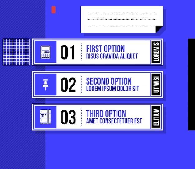 밝은 파란색 배경에 멋진 기하학적 스타일의 세 가지 번호 매기기 옵션