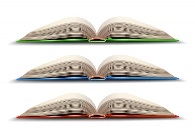 Three opened book