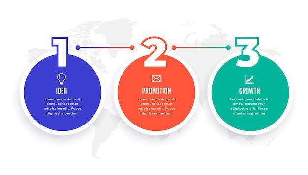 Tre opzioni cerchio modello infografico design three