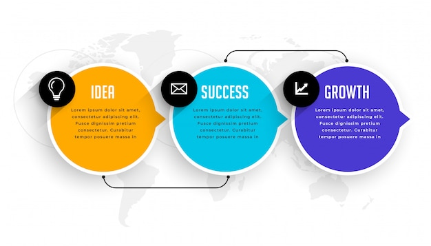 Three options steps infographic modern template