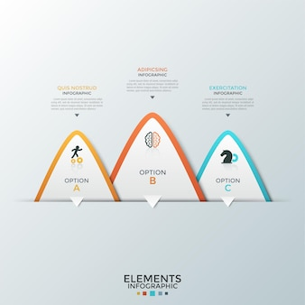 Three overlaying paper white triangular elements with flat icons inside and place for text. concept of 3 business options to choose. infographic design template. vector illustration for presentation.