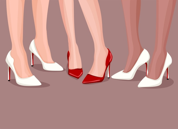 우아한 하이힐을 신고 섹시한 여성 다리 세 쌍.