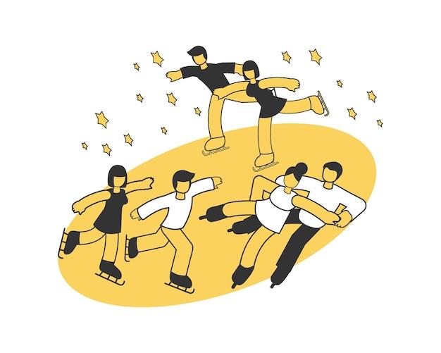 아이스 스케이팅 대회 아이소메트릭 구성에 참여하는 세 쌍