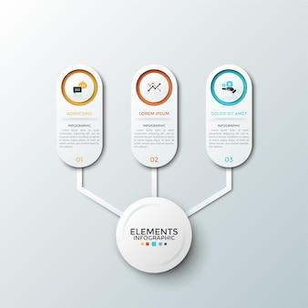 Три бумажных белых закругленных элемента с плоскими символами и местом для текста внутри соединены с кругом в центре. концепция 3-х особенностей стартап-проекта. макет дизайна инфографики.