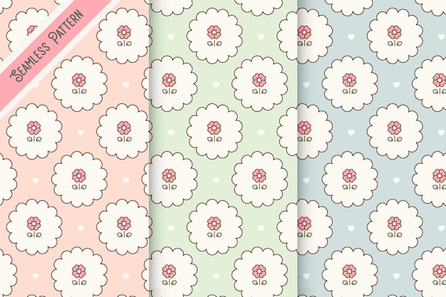 Three pastel colors floral seamless patterns set