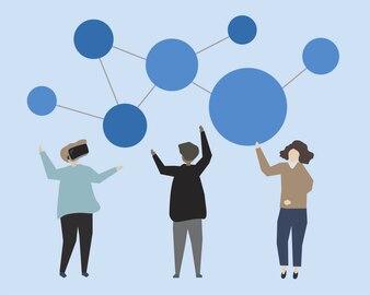 Three people brainstorming their ideas illustration
