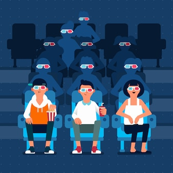 Three people character watching 3d movie in cinema and many people silhouette behind  illustration
