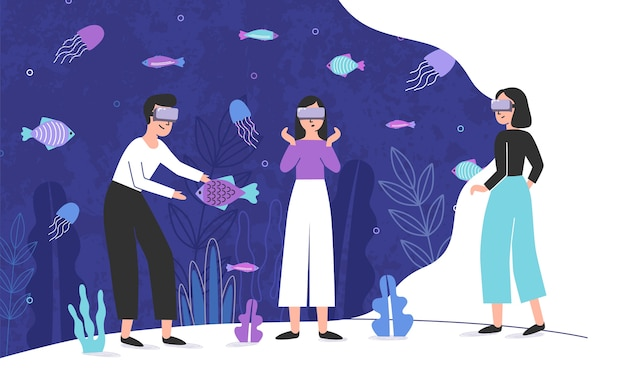 Three people wearing virtual reality glasses and standing inside giant aquarium full of exotic fish.