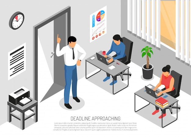 Three people working in office before deadline 3d