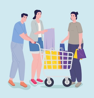 Three persons shopping day