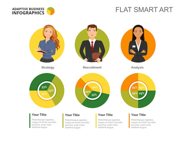 Three pie charts slide template