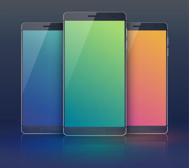 Collezione di smartphone in tre pezzi in campo nero con moderni cellulari identici ma con touchscreen digitali vuoti di colore blu verde e arancione