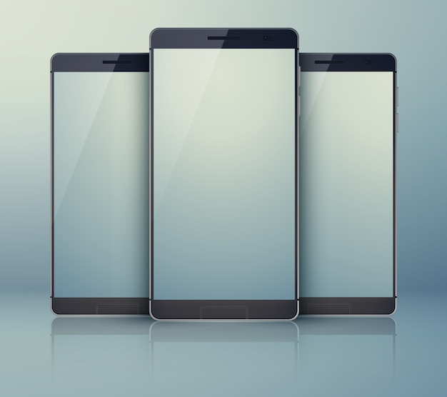 회색의 3 피스 의상 스마트 폰 컬렉션, 현대적인 고유 휴대폰과 밝은 디지털 블랭크 터치 스크린에 그림자