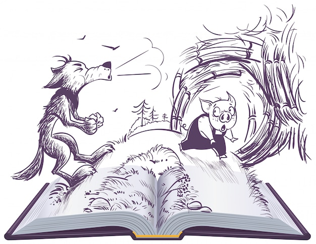Three pigs fairy tale open book illustration. wolf blowing broke house