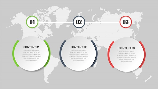 Three point business infographic element  design