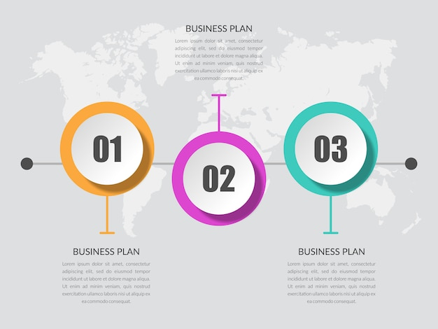Three point infographic element business strategy with number