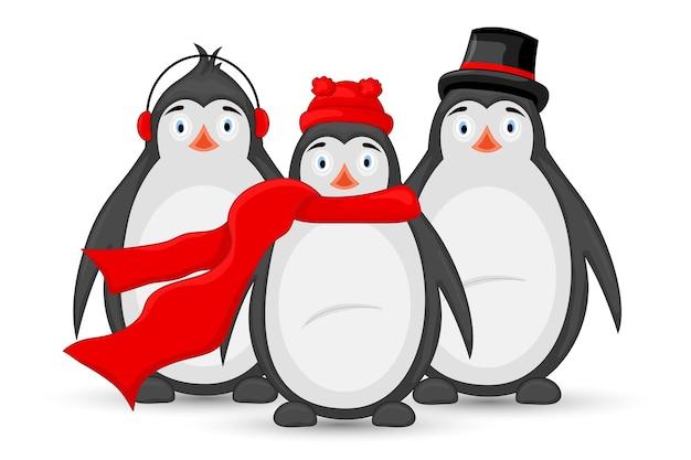 3つの極地ペンギンの冬のイヤホン、キャップ、帽子、スカーフ。新年とクリスマスのポストカード。白い背景の上の孤立したオブジェクト。テキストとおめでとうのテンプレート。
