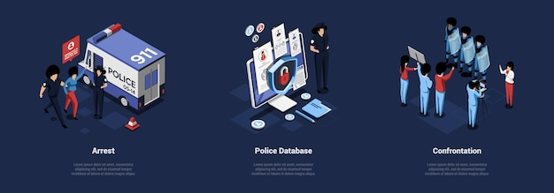 Three police related concept illustrations in cartoon 3d style.