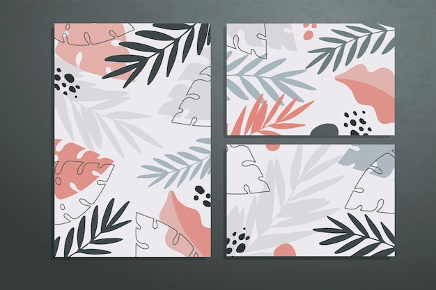 Three posters with abstract botanical shapes and leaves