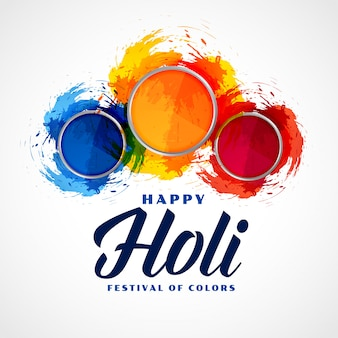 Three powder color plates happy holi background