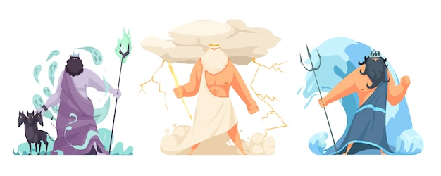 Three powerful ancient greek brothers gods horizontal set with hades zeus and poseidon cartoon isolated