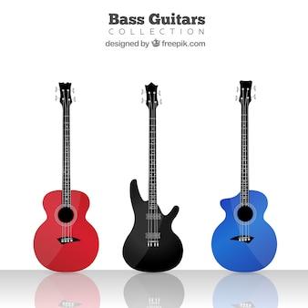 Три довольно красочных бас-гитара