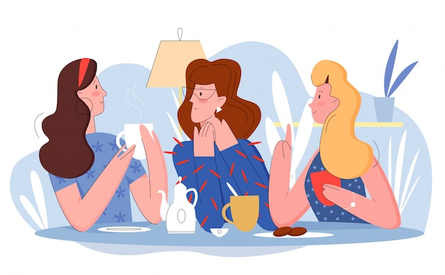 Three pretty women in cafe flat line character vector illustration concept