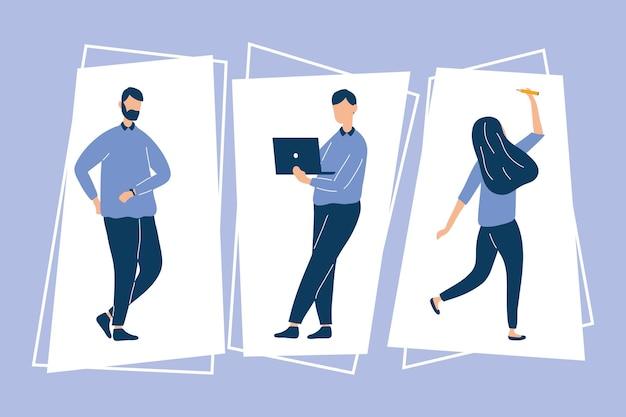 세 명의 생산적인 노동자 캐릭터