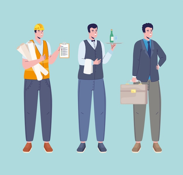 Three professions workers characters