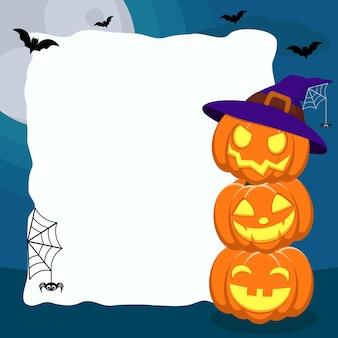 Три тыквы с лицами возле белого листа на синем с летучими мышами и пауками.