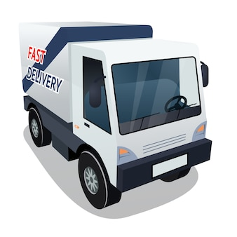 Three quarter of delivery cargo truck vector graphic