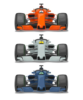 보호 전면 보기가 있는 3개의 경주용 자동차. 흰색 배경에 고립 된 벡터 평면 컬러 일러스트