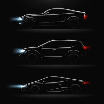 3つの現実的な車のプロファイル Premiumベクター