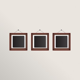 Three realistic frames with brown border