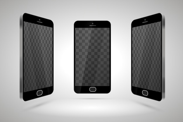 Three realistic glossy smartphones, mockup with transparent place for layout