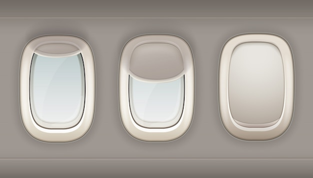 Three realistic portholes of airplane from white plastic with open and closed window shades vector i