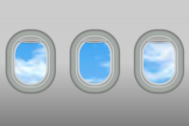 Three realistic portholes of airplane from white plastic with open window shades