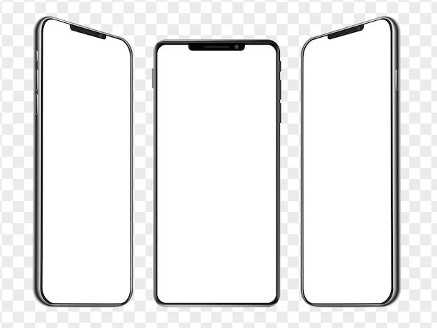 Three realistic smartphone mockup isometric templates. mobile phone blank white screen. device ui ux mockup for presentation template.