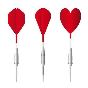 Three red darts isolated