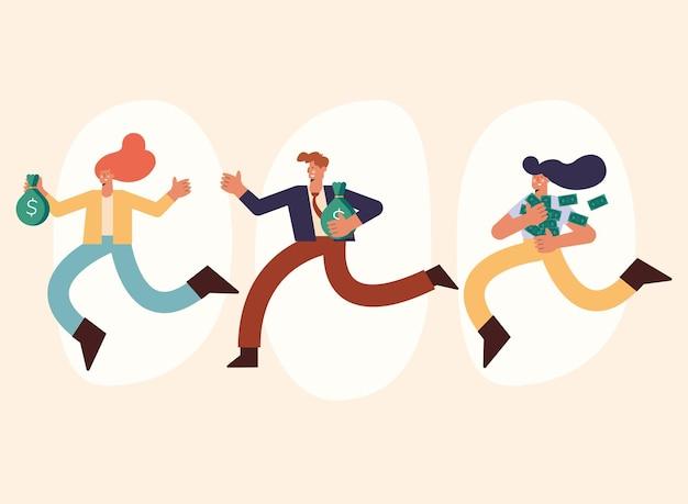 Три богатых человека бегут с деньгами
