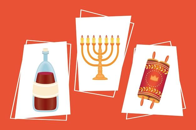 Three rosh hashanah set icons