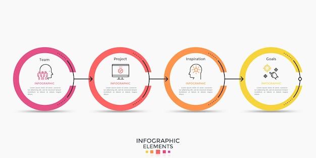 水平チェーンに接続された3つの丸い要素またはリング。インフォグラフィックデザインテンプレート。ビジネスの進捗状況の視覚化、ワークフローチャートのためのシンプルなフラットスタイルの最小限のベクトル図。