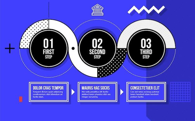 밝은 파란색 배경에 멋진 기하학적 스타일의 세 가지 라운드 옵션