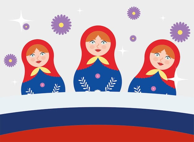 Three russian matryoshka dolls with flowers