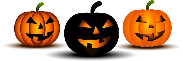 Three scary pumpkins