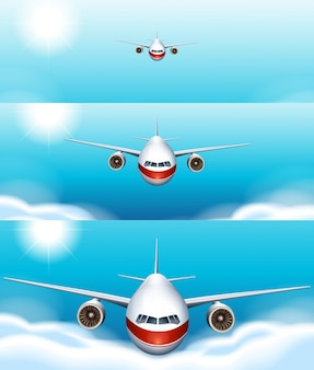 Three scene backgrounds of airplane flying in the sky