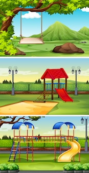 Three scene backgrounds of park and playground