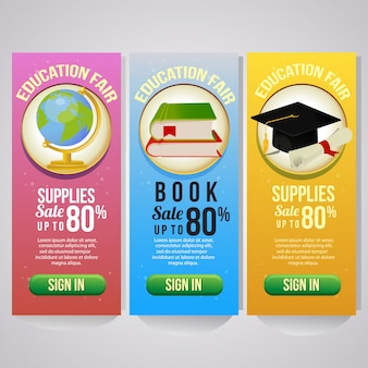 Three school holiday vertical banner school goods